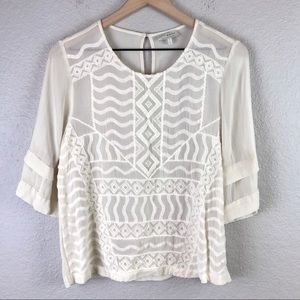 Lucky Brand Sheer Embroidered Blouse